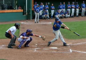 A.J. Tea hitting home run - Photo by Bill Steele