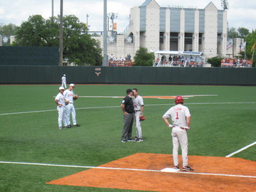 Head Coach Golloway getting is words in after being tossed.