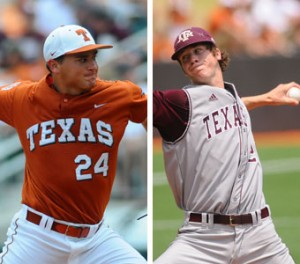 Cole Green, left, couldn't stop the Aggies as well as Ross Hales, right, was able to stop the Longhorns on Saturday.-Patrick Meredith FOR AMERICAN-STATESMAN