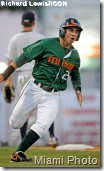 07 April 2009: University of Miami infielder Scott Lawson (2) hit a home run against Florida Atlantic University at Alex Rodriguez Park at Mark Light Field, Coral Gables, Florida, in Miami's 8-7 victory.